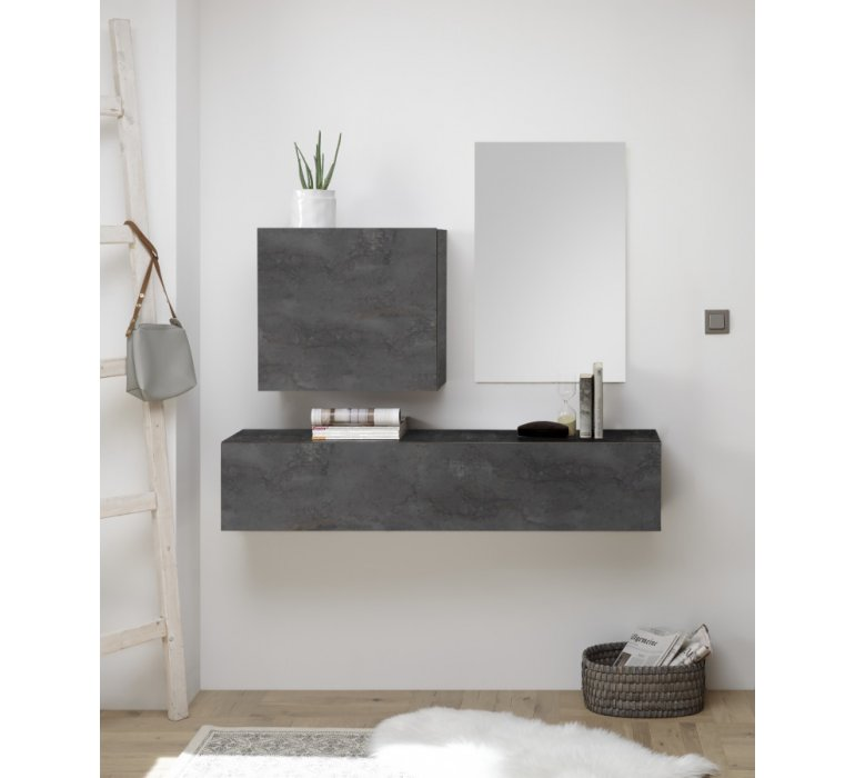 console meuble d entree suspendu design gris grey