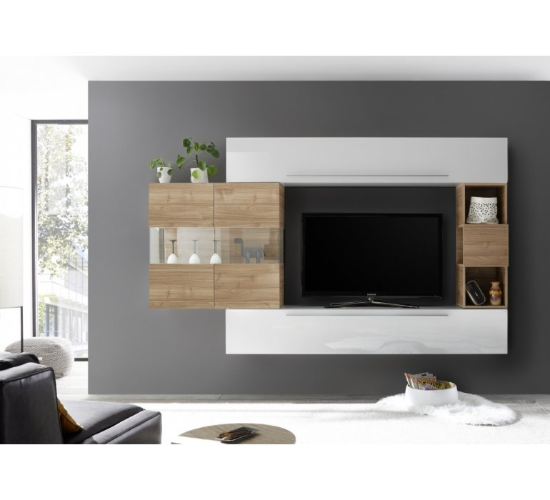 meuble tv moderne suspendu bois et blanc laque harry