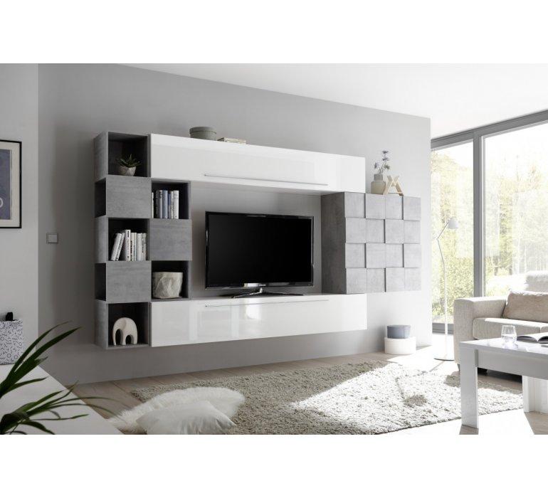 meuble tv suspendu design blanc laque et gris julio