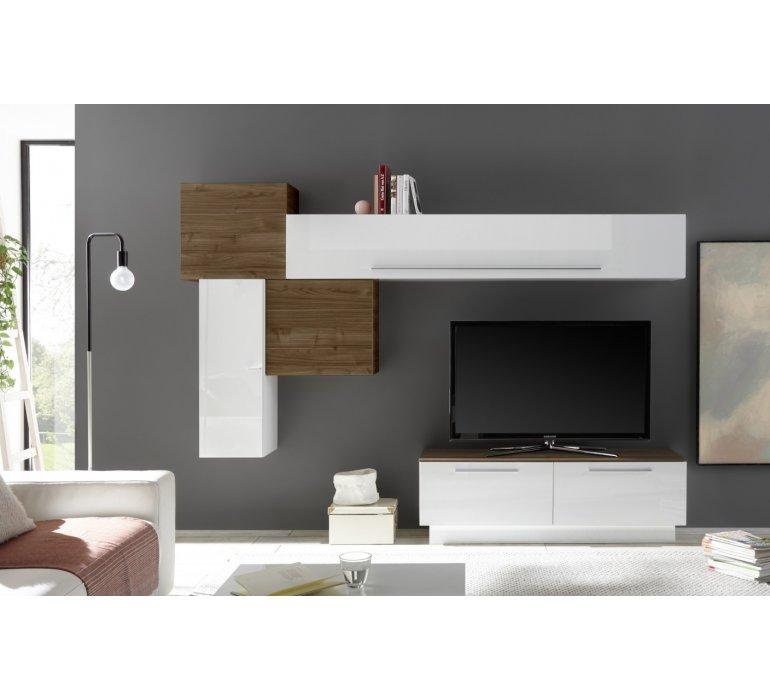 meuble tv mural design blanc et bois edgar