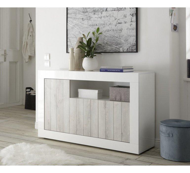 bahut moderne blanc laque et bois gris clair san remo