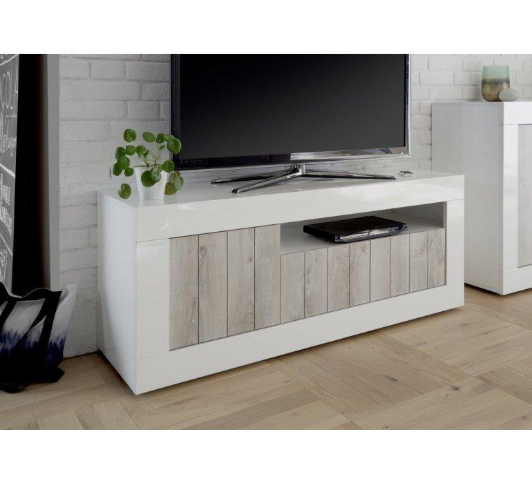 banc tv blanc laque et bois gris clair moderne san remo