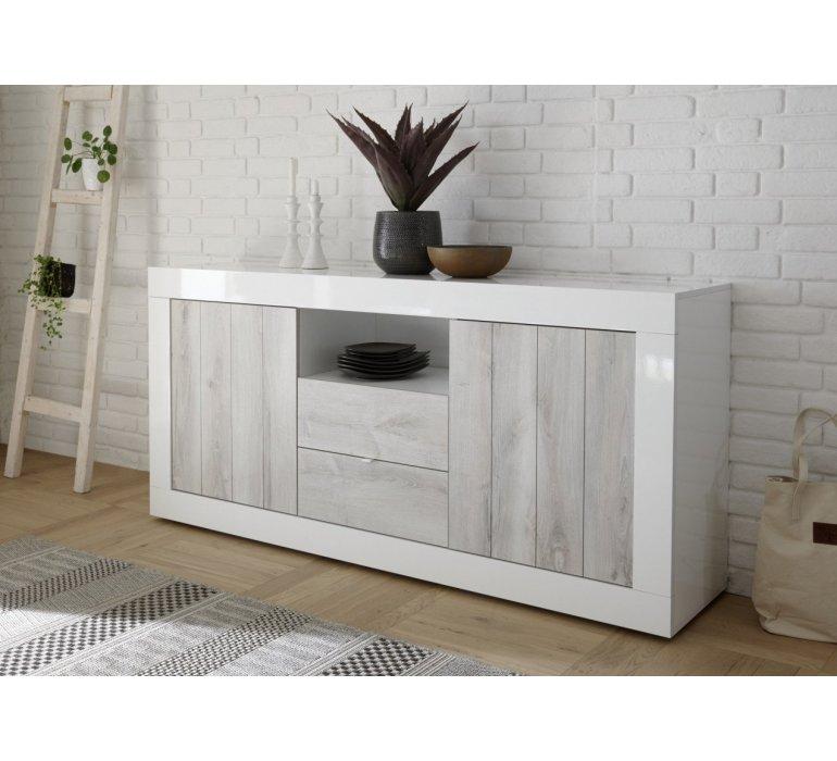 salle a manger blanc laque et bois gris clair moderne san remo