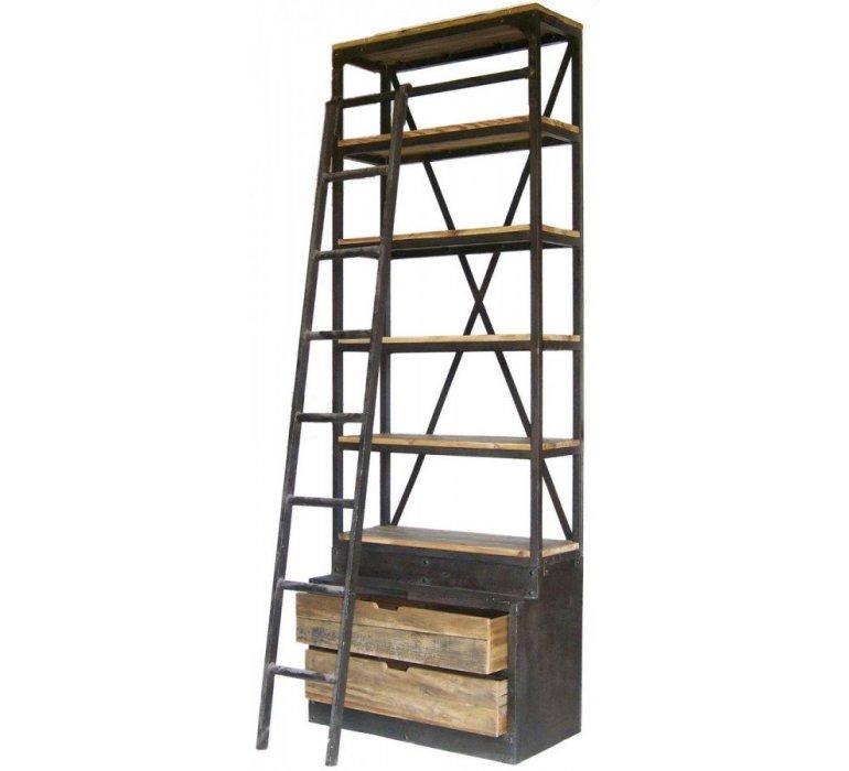 bibliotheque avec echelle style industriel ladder