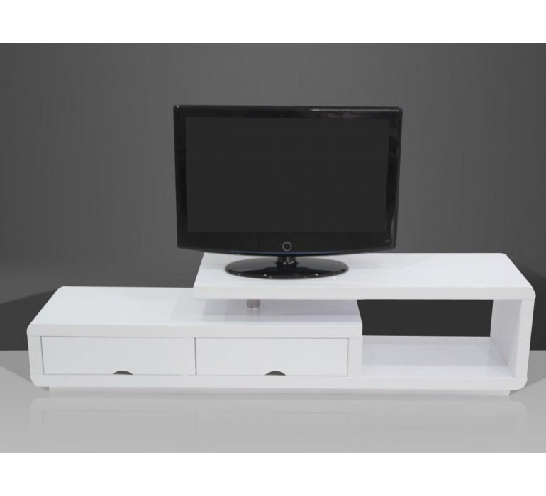 meuble tv blanc laque design giulia