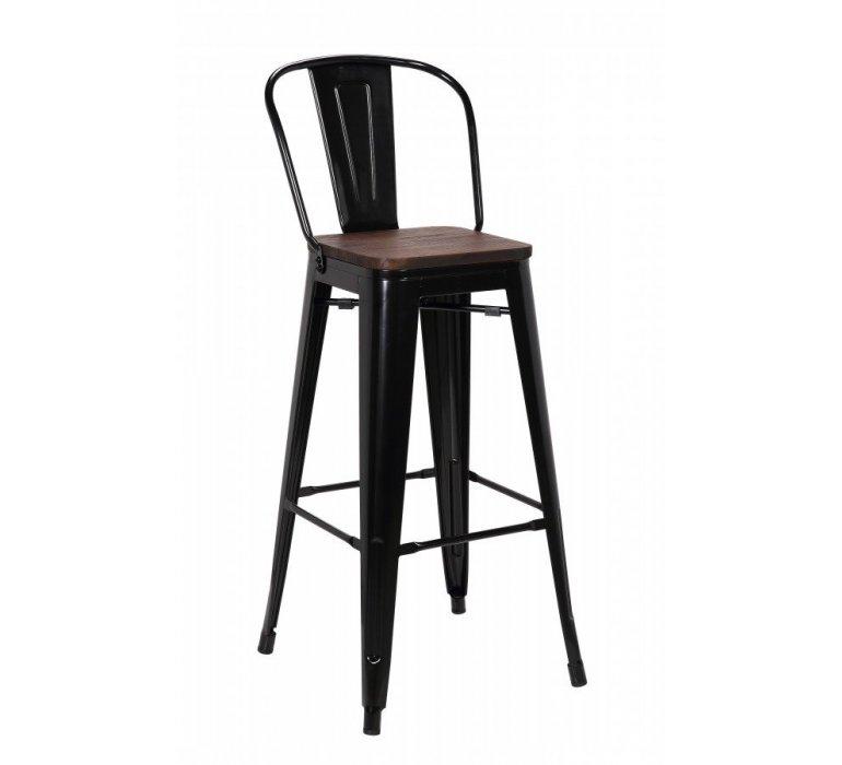 chaise de bar industrielle metal noir et bois hipster