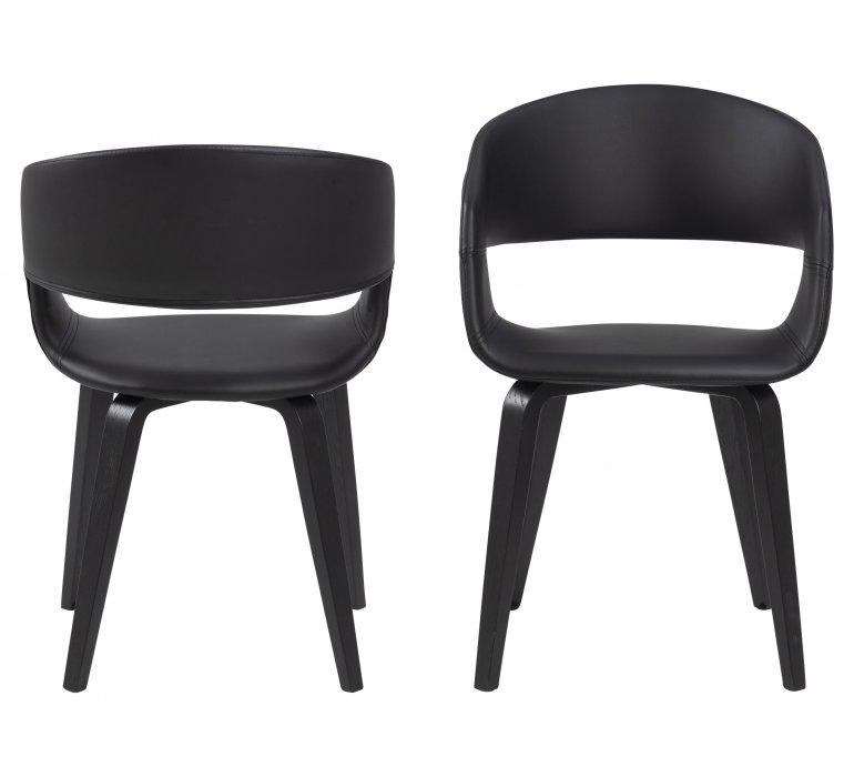 chaise design noire lot de 2 roma