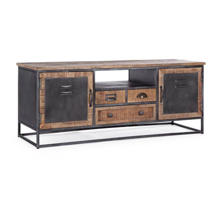 meuble tv industriel bois et metal 125cm iron