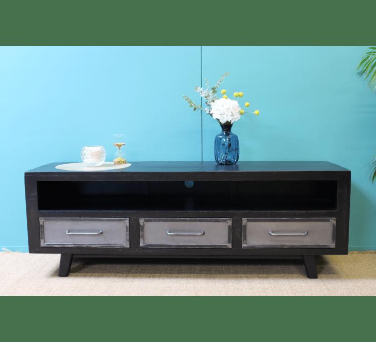 meuble tv industriel bois noir et metal blackpearl