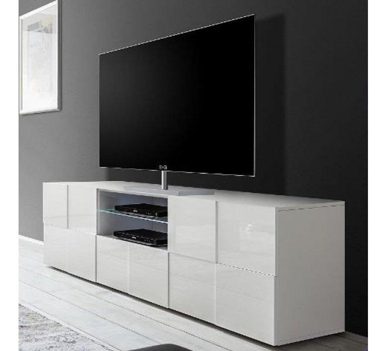 banc tv blanc laque design lazio