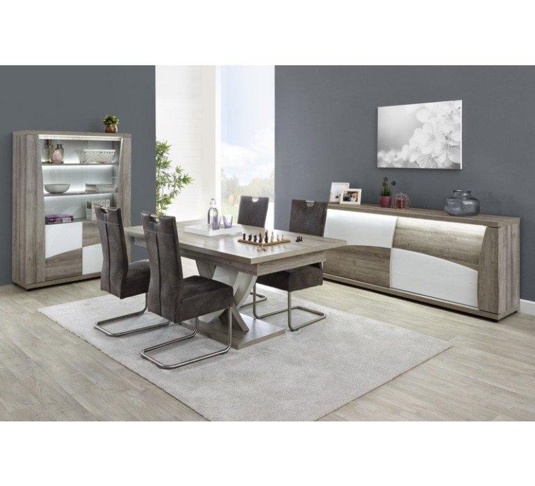 table a manger chene gris et blanc laque moderne baccara