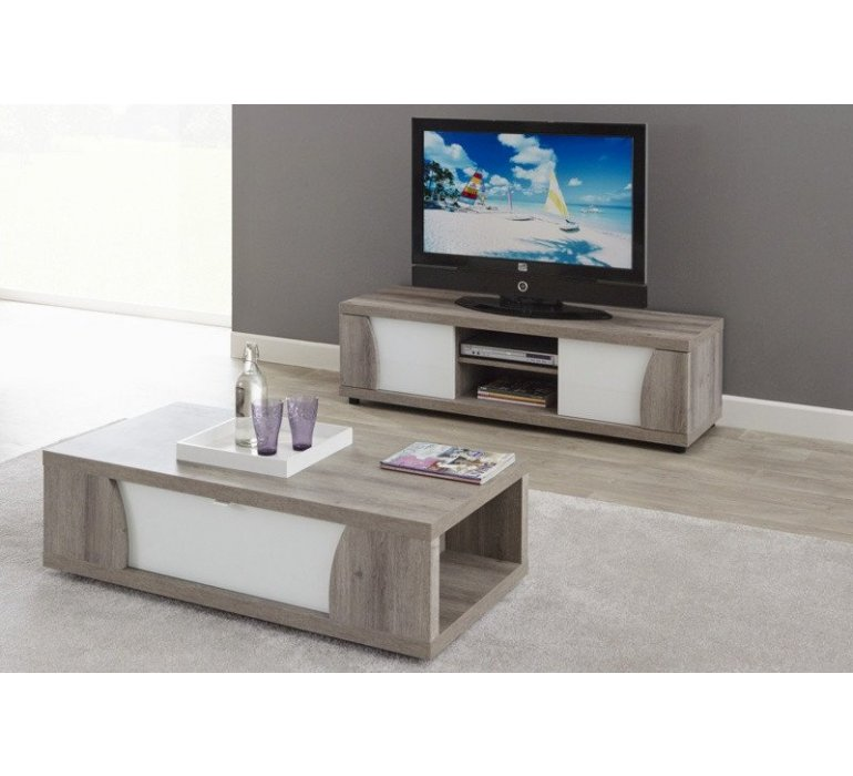 table basse chene gris et blanc laque moderne baccara