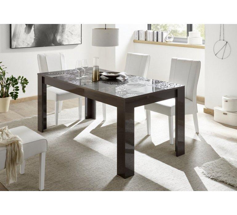 table a manger anthracite laque avec motifs design maranello