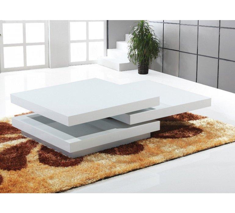 table basse carree blanc laque design romini