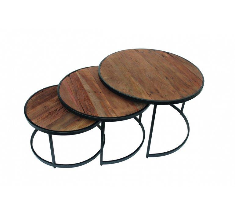 table basse gigogne industrielle bois et metal jersey