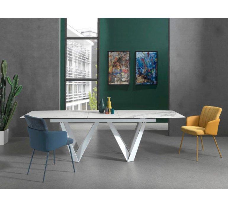 table a manger en ceramique blanc marbree avec rallonge ares