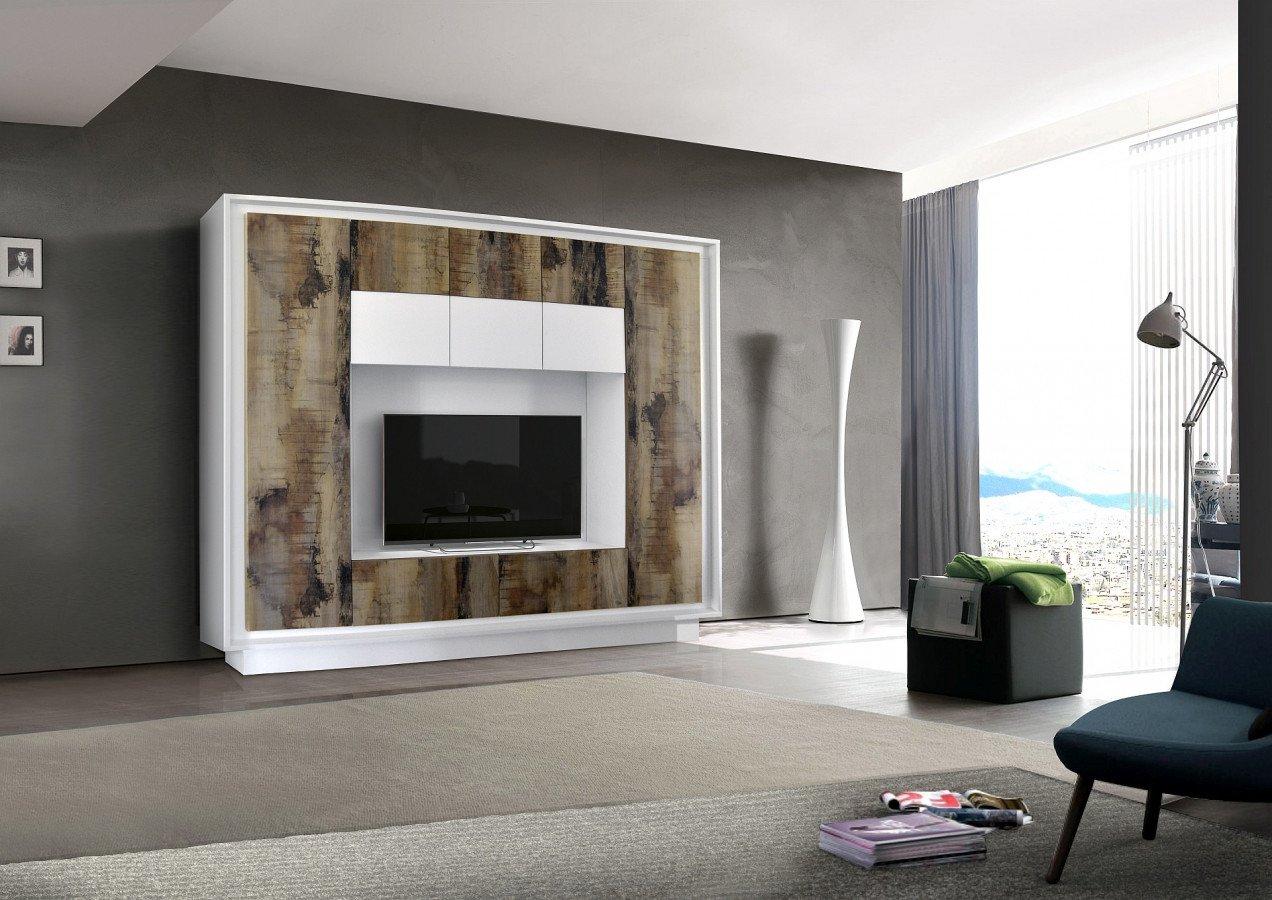 mur tv blanc laque et effet bois vieilli moderne fauve