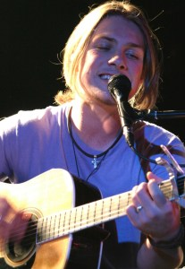 Hanson, on stage at Manchester University in the UK