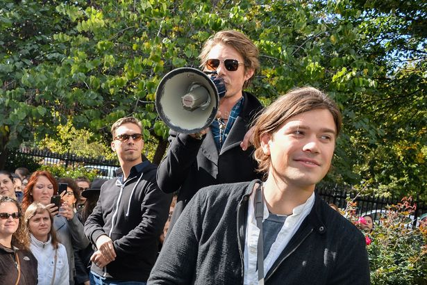 Isaac Hanson, Taylor Hanson and Zac Hanson attend Hanson's Take The Walk Campaign at Irving Plaza on October 17, 2015 in New York City