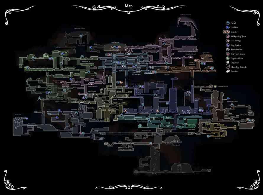 Mapa con todas las localizaciones y secretos Hollow Knight