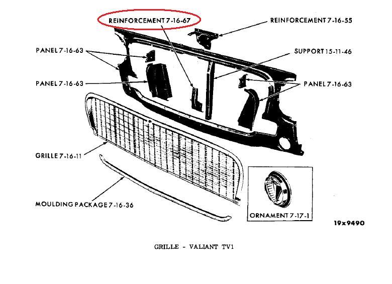 Buy 1963 Valiant V100 V200 Signet NOS MoPar GRILLE PANEL