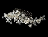 Wedding Hair Combs | striking silver floral bridal hair ...