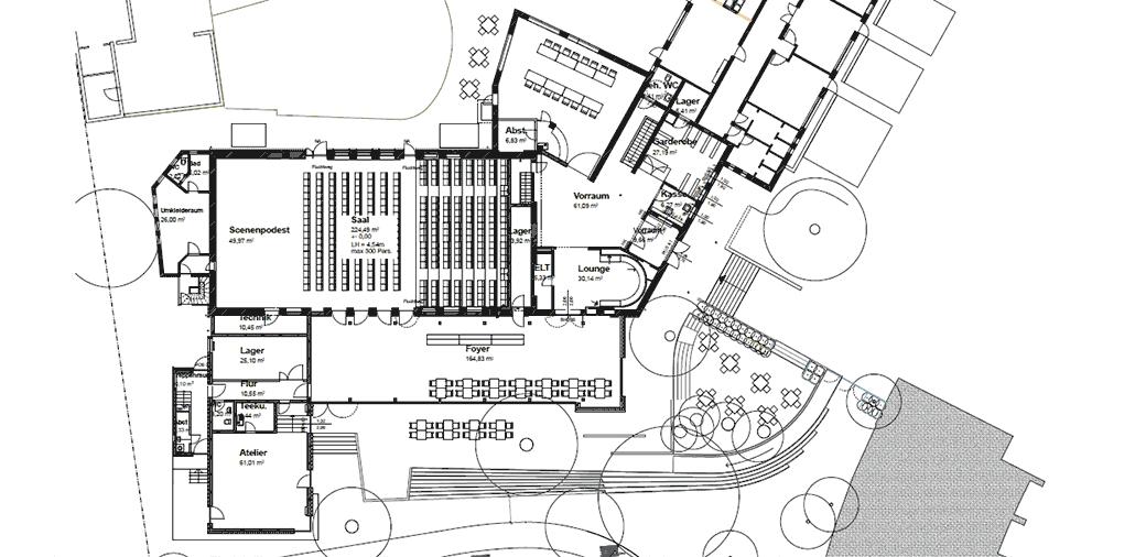 Grundriss UFA-Theatersaal, Theaterfoyer und Atelierhaus