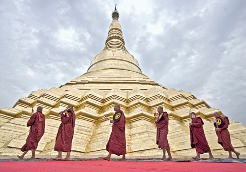 Shwedagon's main stupa is plated with 22,000 gold bars. Photo: Zarni Phyo