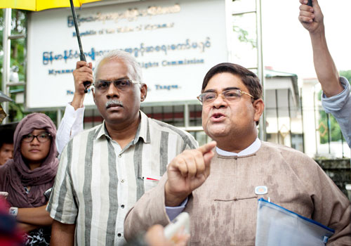 Lower house MP U Shwe Maung talks to reporters during a press conference on September 4. (Aung Khant/The Myanmar Times)
