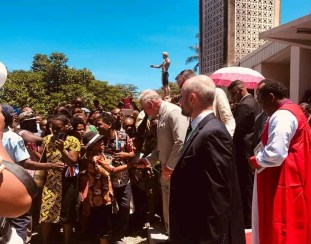 Prince Charles meeting church members after church