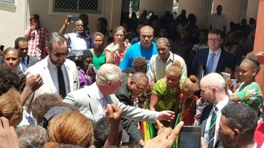 Prince Charles meeting church members after service [Photo - Solomon Focus]