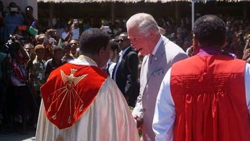 Prince Charles meeting the Dean of St Barnabas Cathedral