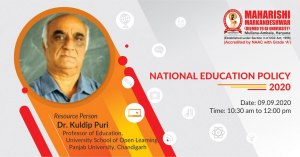 Online Webinar on National Education Policy – 2020