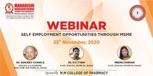 Webinar: Self employment opportunities through MSME