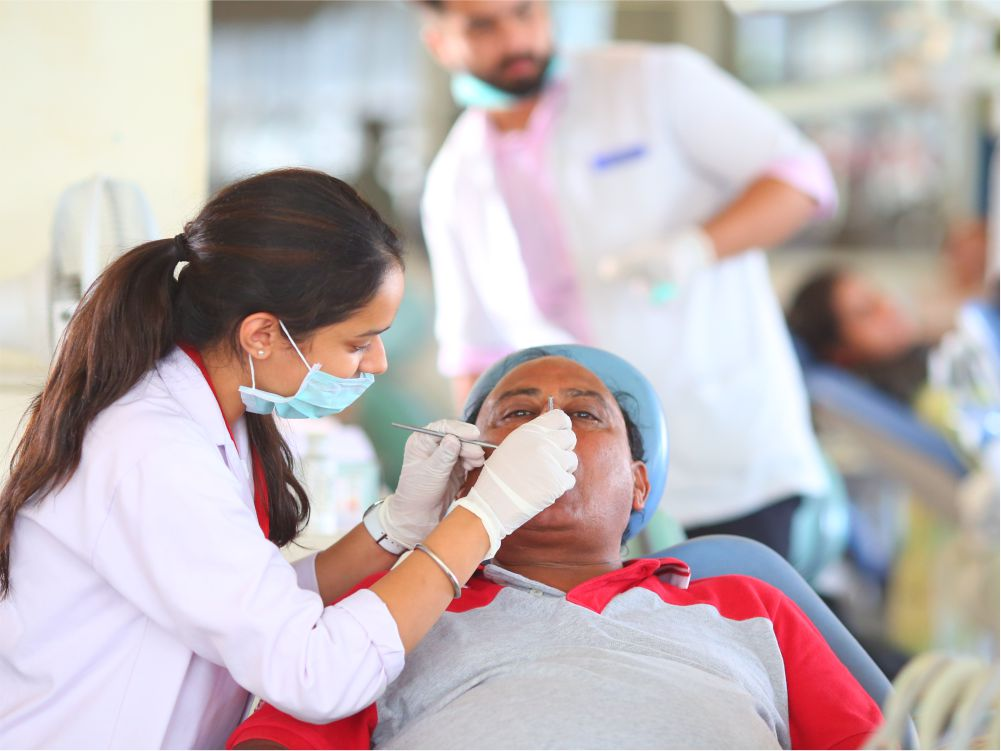 Undergraduate Clinic - Undergraduate students, internees and 1st year MDS students train & treat patients for tooth extractions, first aid, dressings and few minor dento-alveolar surgeries.