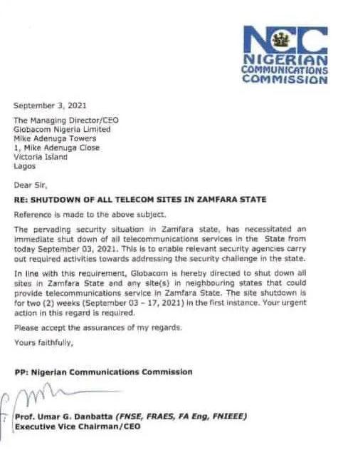 Govt shuts down telco services in Zamfara
