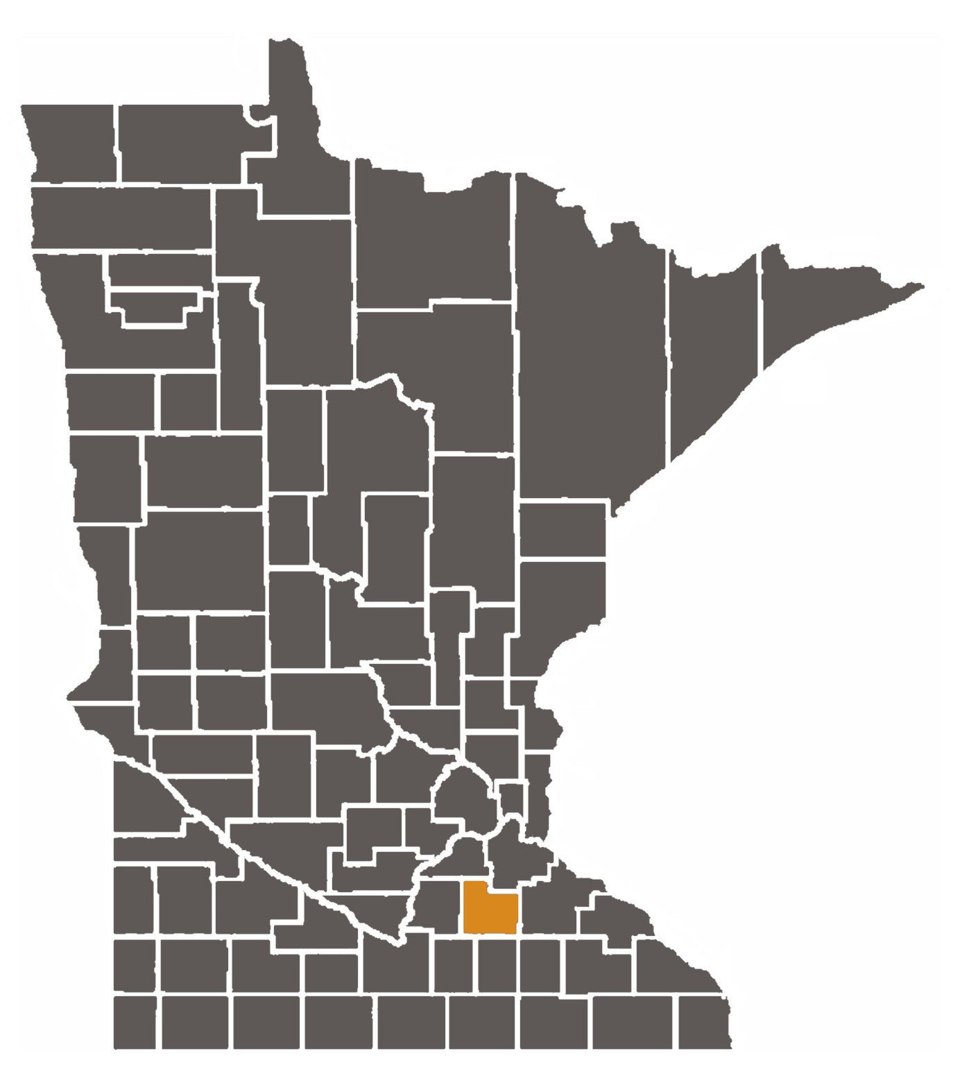 hight resolution of minnesota map with rice county highlighted