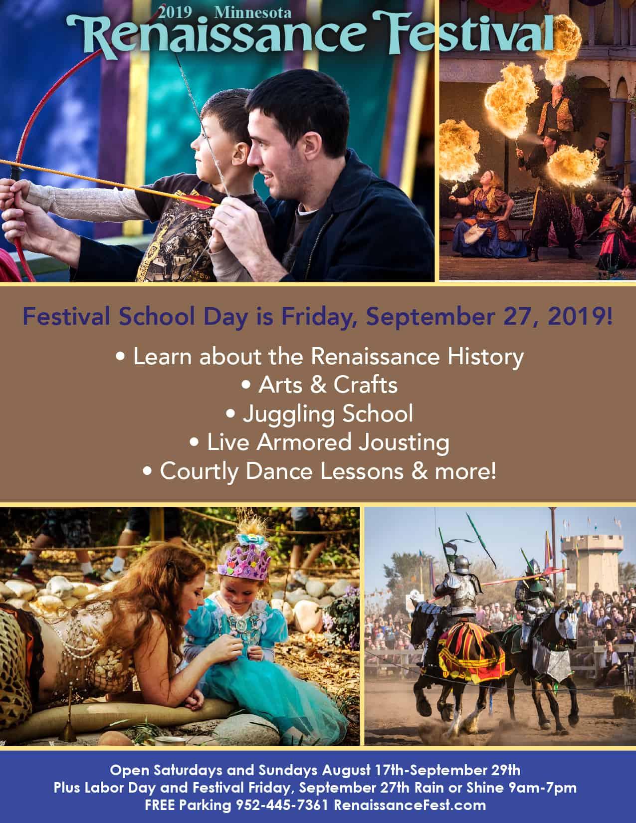 2019 Renaissance Festival School Day Registration Info