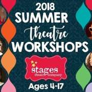 2018 Summer Theatre Workshop ad featuring costumed children.