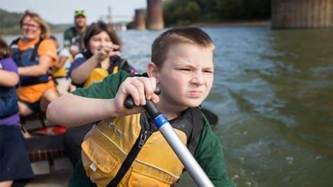 Children kayaking