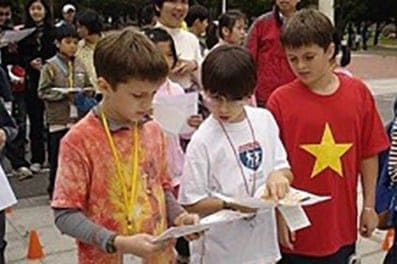 Kids with maps