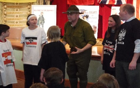 Kids learning about WWI