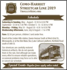 Minnesota Streetcar Museum 2019 Schedule