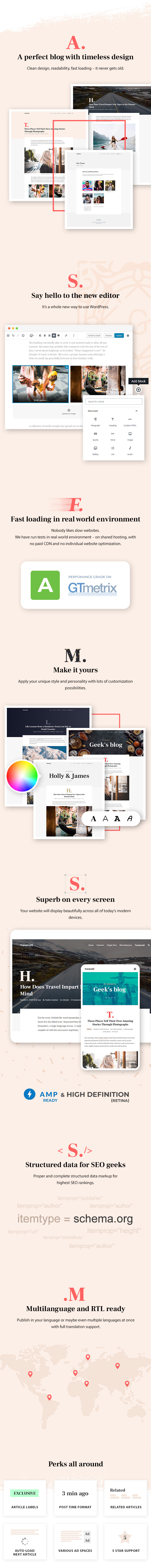 Typography - Content focused on the Gutenberg theme for WordPress Blog - 1