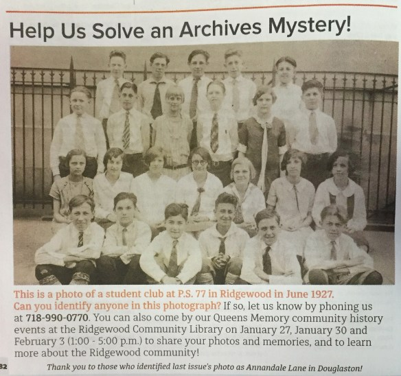 "The ""Archives Mystery"" from the January-February issue of the Queens Library magazine."