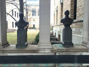 The Wright brothers, inventors and aviation pioneers, have busts in the Hall of Fame.