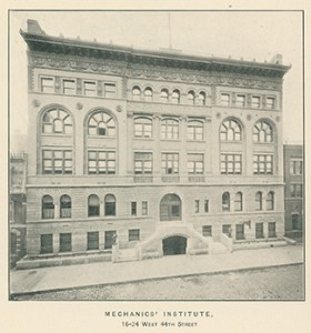 The exterior of General Society of Mechanics & Tradesmen, circa 1900