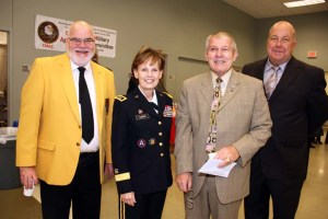 2015 Veterans Day. Ch Jim Erixson, MG Karen LeDoux, USAR, MCee Larry Smith (CRC) and JD Litton (CRC)
