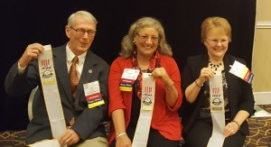 Columbia River Chapter President, Evelyn Brady (right), with other 2015 Five Star award winners from Olympia and Kitsap chapters. The awards were presented in Arlington, VA on October 24, 2016.This year's streamer is unique as it is the first year MOAA starts adding year plates rather than issuing a whole new streamer.