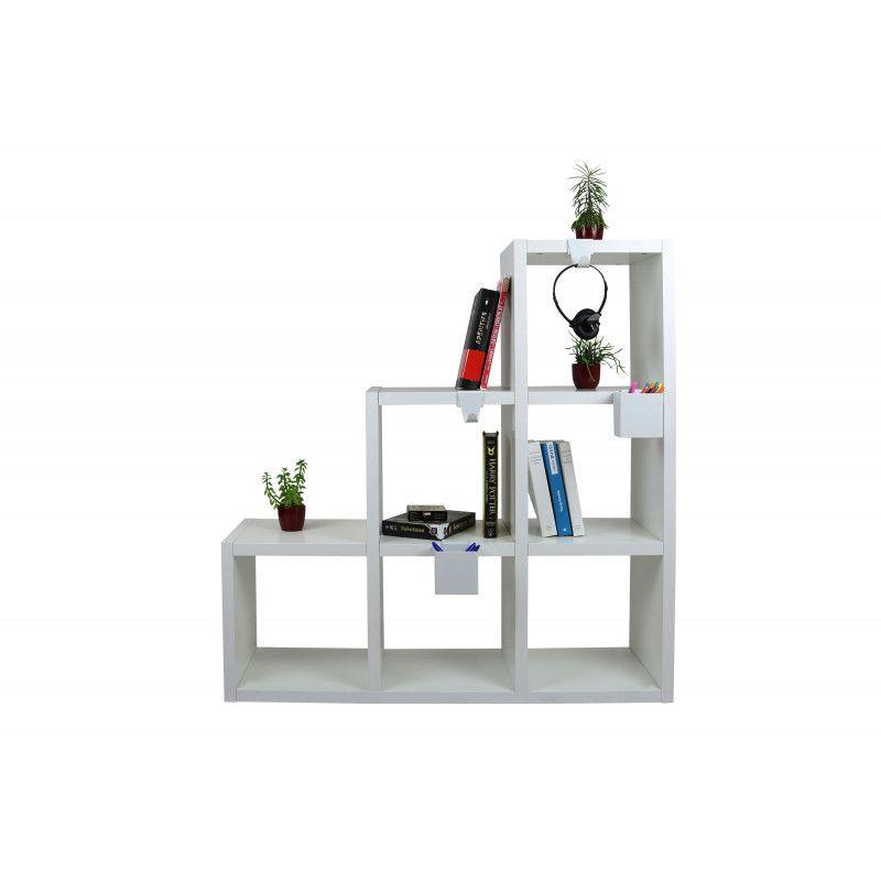 etagere 6 cases blanc 108 x 108 cm 2 cubes de rangement accessoires kubin